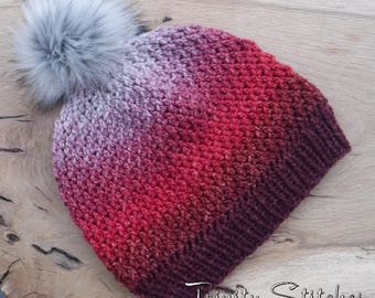 Crocheted Hat Faux Fur Pom Pom Merino Cashmere Ready To Ship Free Shipping