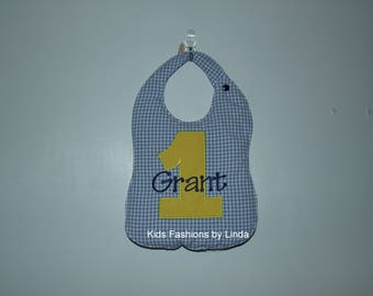 Personalized Blue Gingham Bib with Solid Yellow Number