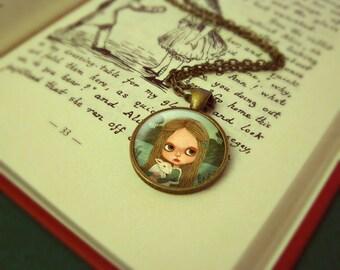 Kids Jewelry, Girl Necklace, Jewelry Girls, Photo Jewelry Glass Pendant Gift Girl, Cute, Alice In Wonderland, Blythe - Alice & White Rabbit