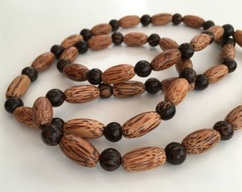 Palm wood necklace, Patikan necklace, chunky wooden necklace, unisex, gift for her, gift for him, long necklace, natural, boho, wrist wrap
