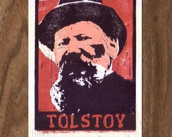 Linocut Handpulled Print - Leo Tolstoy