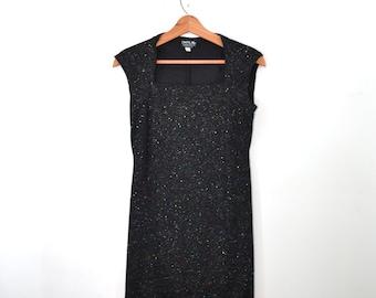 Vintage Dress Black Dress Short Dress Black Sparkle Dress Evening Wear Black Tank Dress 80s Dress Bandage Dress Size 8