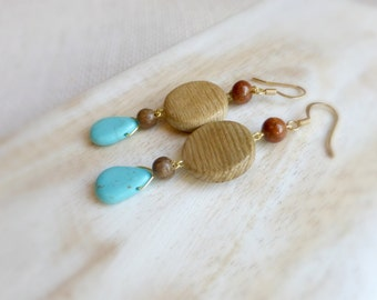Blue turquoise wood earrings ,Wooden jewelry anniversary gift , Eco green dangle earrings for her , Long wood drop earrings