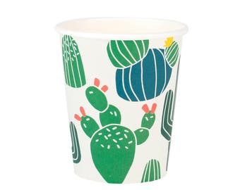 Cactus paper cups. Set of 8. Cacti print party cups. Desert party cups.  Fiesta paper cups. Cactus party decor. Cactus party cups.