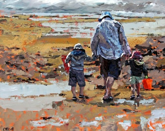 limited edition, fine art, reproduction print, of my, impressionist painting, beach art, father and son, palette knife art, 'Rockpools'.