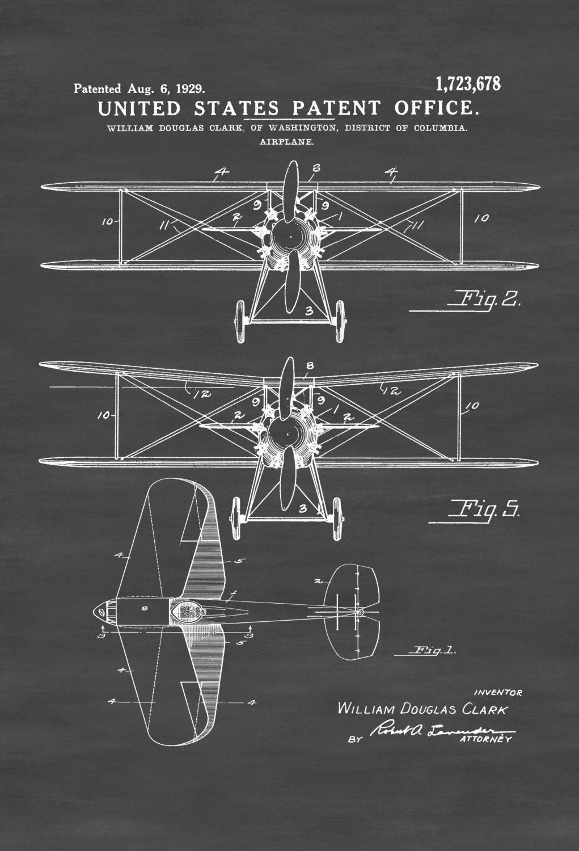 Patent Print Doppeldecker Flugzeug Plan Flugzeug Kunst