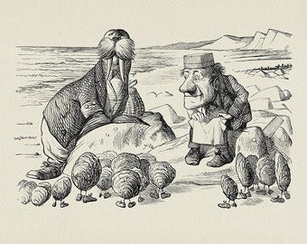 The Walrus and the Carpenter - poster print Alice in Wonderland / Through the Looking-Glass copy of book illustration by J. Tenniel #71