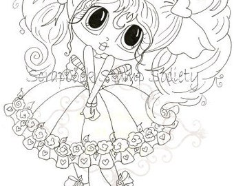 INSTANT DOWNLOAD Digital Digi Stamps Big Eye Big Head Dolls Digi Bashful Bettie By Sherri Baldy