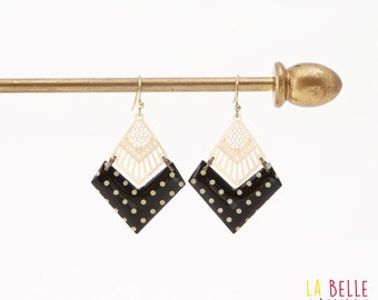 Diamond resin chevron pattern bean earrings