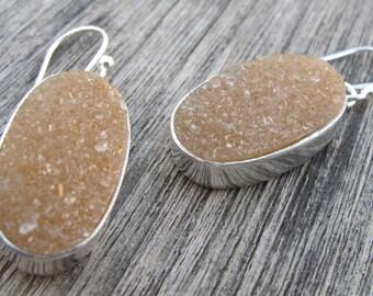 Peach Druzy Earrings- Drusy Earrings- Silver Earrings- Druzy Earrings- Gemstone Earrings- Stone Earrings- Crystal Earrings- Agate Earring