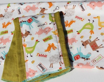 Gender Neutral Baby Shower Gift Farm Animal Swaddle/Receiving Blanket and Hand-dyed Burpcloth Set