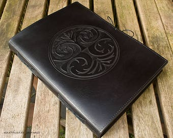 A4, Large, Leather Bound Journal, Tree of Life, Tree Design, Black Leather, Leather Notebook, Blank Book, Book of Shadows, Personalized.