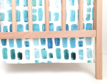 Crib Skirt Aquamarine Watercolor Mosaic. Baby Bedding. Crib Bedding. Crib Skirt Boy. Baby Boy Nursery. Teal Crib Skirt. Aqua Crib Skirt.