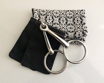 Jersey knit black and white  equine bit warmer -comes with 2 refillable and washable pouches