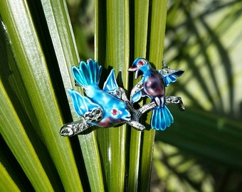 Vintage enamel and marcasite bluebird brooch.