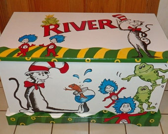 Custom Dr. Seuss Toy Box Personalized with Name on top