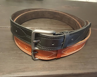 """1 1/2""""_LEATHER DRESS BELT handmade 3/16"""" to 1/4"""" thick"""