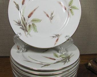 Zeh Scherzer - Pattern Number 005985 - Gold Wheat Bread and Butter Plates - Set of Ten (10)