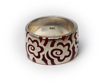 Sterling Silver Enameled Wedding Band