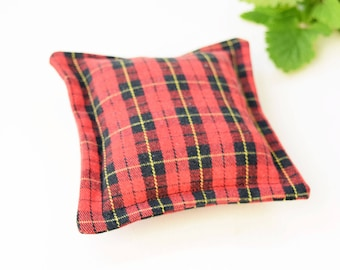 Red catnip pillow, plaid pillow toy, recycled cat toy, small cat kicker toy, gift for cats, catnip cushion, vegan cat toys, cat pillow toy