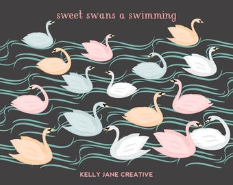 Swan Clipart | Pond Clipart | Wedding Clip Art | Digital Swans | Digital Clip Art | Vector Graphics | Waves Clip Art