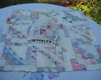 Vintage Doll Patchwork Quilt w Pillow pom pom trim