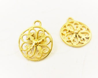 2 pc., Vermeil 18k Gold  plated over 925  sterling Silver round filigree charm, matte gold filigree charm,