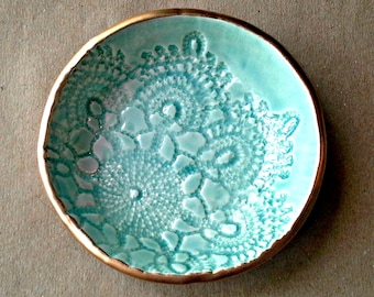 Ceramic Ring Bowl Trinket bowl Aqua Gold edged