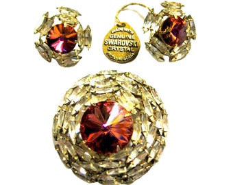 Boxed Swarovski Crystal Rhinestone Pin and Earrings - Vintage Demi Parure - Tagged Swarovski Jewelry Set - Crystal Earrings - Estate Jewelry