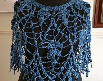 Lacy crochet capelet