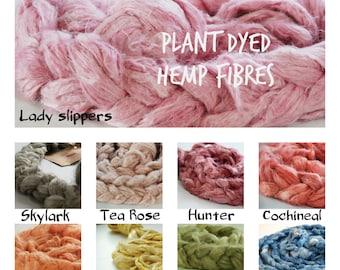 HEMP FIBRE ~ Naturally DYED Hemp Fibre - great for vegan needle felting, crafting, spinning, weaving, roving, hair, plant fibre, plant dyed