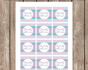 Butterfly favor tags, butterfly kisses favor tags, chevron favor tags, purple teal favor tags, butterfly baby shower, bf2 INSTANT DOWNLOAD
