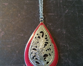 Silver Necklace - Silver Jewelry - Silver Pendant - Burgandy Necklace - Filigree Necklace - Filigree Jewelry - Tear Drop Necklace - Necklace