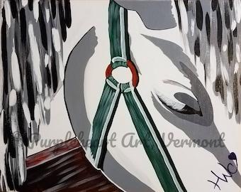 White Horse Original Fine Art//Sleepy Eyed//Stallion Pony Mare//Western//Acrylic//Housewarming//Birthday/Gift/Wall Art Hanging/Folk/Graphic