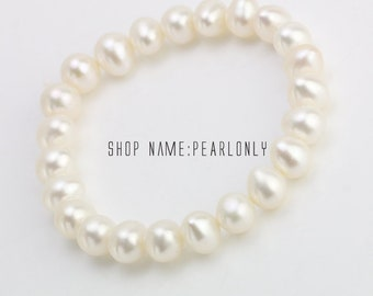 8mm stretch pearl bracelet,elastic pearl bracelet,genuine white pearl bracelet for bridesmaid gift,cultured freshwater ivory pearl bracelet