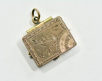 Rare Art Nouveau Gold Fill Rectangular Locket, Floral Style Locket, 1890s Locket