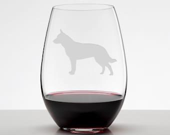 Blue Heeler, Australian Cattle Dog Etched Stemless Wineglass, Dog Lover Gift