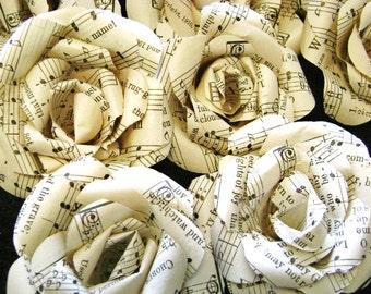 vintage hymnal  or sheet music paper flowers set, bulk lot of 25,  wedding decorations, DIY craft supplies, cottage farmhouse decor