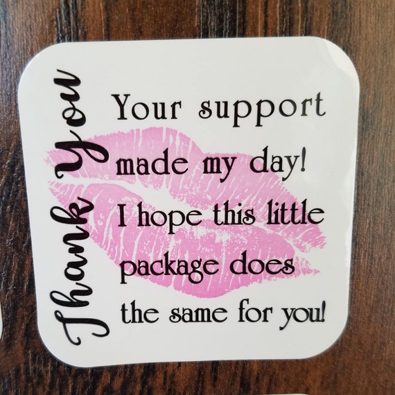Lip business thank you stickers lipsense lip gifts kiss label small business business packaging your support made my day pink lips from