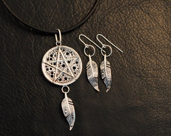 Wild Witch jewelry set, 925 sterling silver jewellery, pagan, wicca, shaman, goddess, pentacle, pentagram, feather, lost wax casting