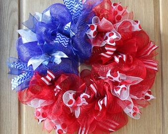 Patriotic Wreath, deco mesh wreath, flag wreath, hand made wreath, patriotic decor, americana decor, independence day wreath,  summer wreath