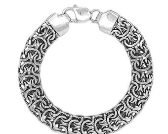 Huge Handcrafted Black Men's Bracelet Sterling Silver 925 SKU120400ram