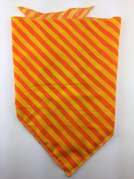Orange Candy Stripes: Cotton Stash pocket bandana w/ Bright Orange & Yellow Diagonal Stripe Print
