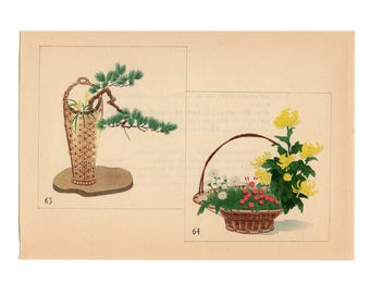 c. 1933 IKEBANA FLOWER ARRANGEMENT - Japanese botanical lithographs - original vintage botanical print