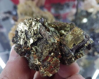 Incredible  Chalcopyrite  two generation and Quartz from Bulgaria, Gold Crystal ,Gold  Mineral