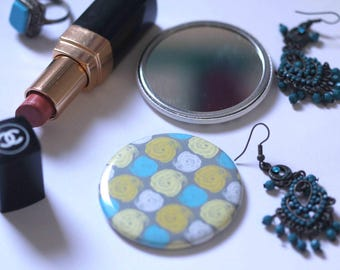 Pocket mirror, circles, geometric art, gifts for her, stocking filler, small compact gift, cute gift, abstract art, mum's, sister's gift