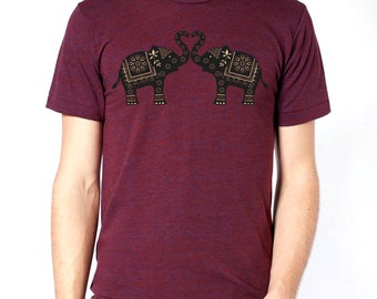 Elephants t-shirt, mens t-shirt, Ethnic Elephants, Love, Heart, Gift, Art T-shirt, Cool t-shirt