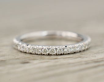 French Pavé Eternity Band 2.0mm .65ct in White