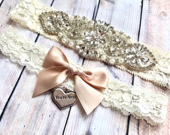 Wedding Garter Set No slip, Bridal Garter Set, Custom Wedding Garter, Blush Wedding Garter, Garter Set Blush, wedding garter rose gold