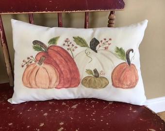 Pillow, lumbar pillow, fall pillow, Pumpkins throw pillow, gift pillow, autumn pillow, watercolor pillow, watercolor pillow